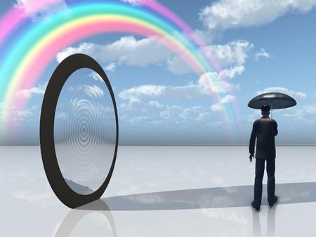 arcobaleno astratto: uomo con ombrellone e apertura mirror Archivio Fotografico