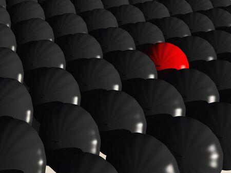black umbrellas with one  red umbrella photo