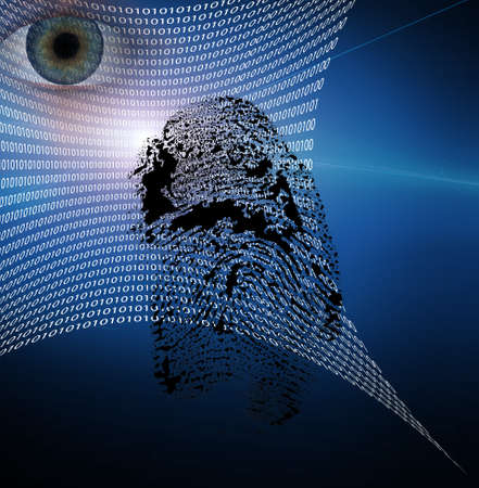 Binary web and fingerprint with human eye Stock Photo - 9772481