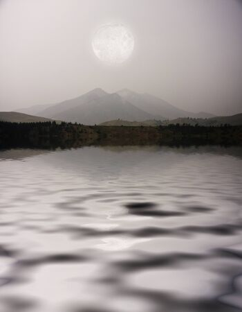 Moon over Mountain Lake photo
