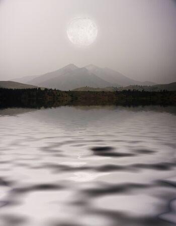 sunrises: Moon over Mountain Lake