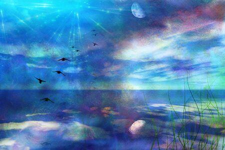 skyscape: Skyscape con Luna Foto de archivo