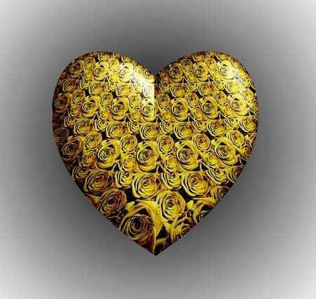 Yellow roses 3D heart Stock Photo - 9772485