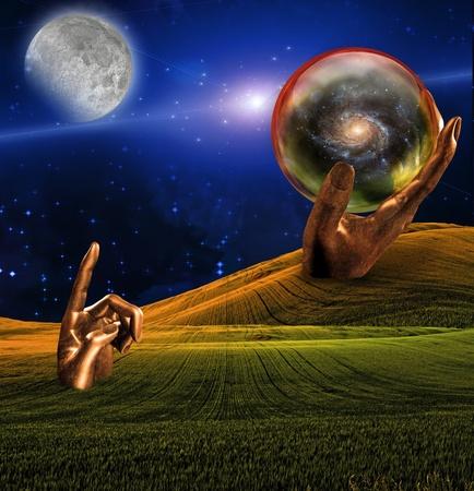 Surrealistische landschap met menselijke hand sculptuur wijzend op de maan