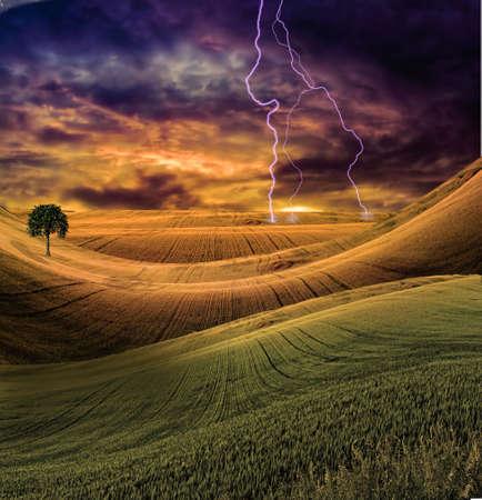 Serene landscape with dramatic sky photo