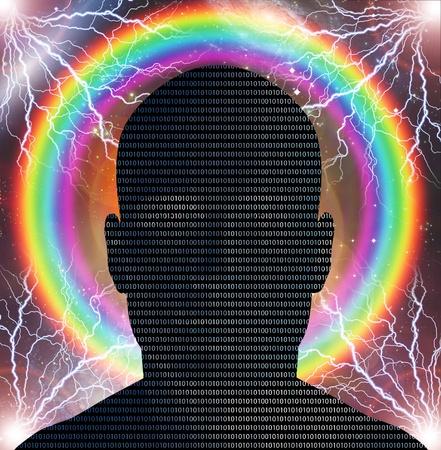 Binary code man photo