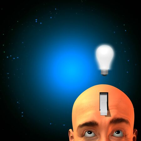 Expressive man with switch in head photo