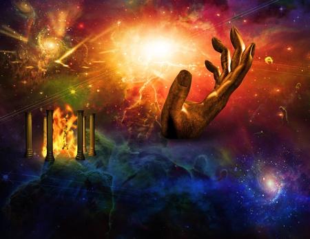 mano de dios: Templo de fuego mano de tiempo Foto de archivo