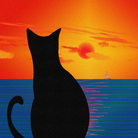 Paesaggio con texture e gatto Archivio Fotografico - 10056433