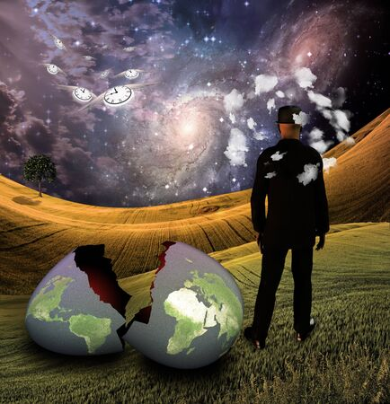 Man with head in clouds with earth egg photo
