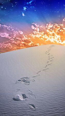 horizon over land: Footprints in deesert sands