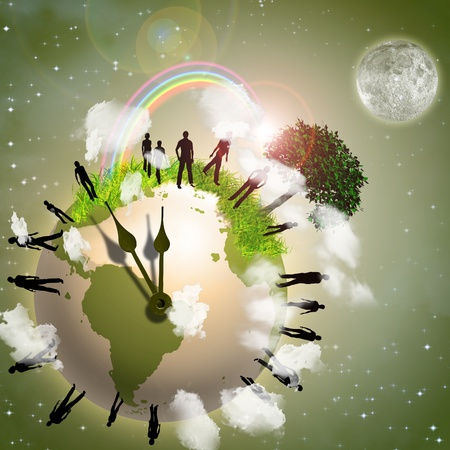 end of the world: Earth Eco Time Stock Photo