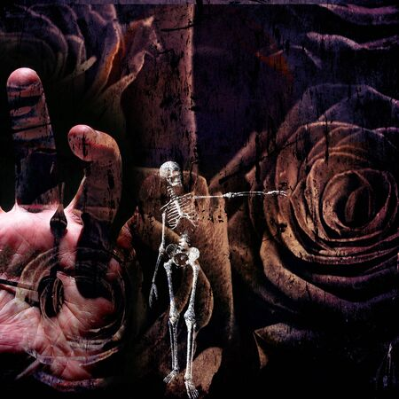 adult bones: Grunge Composition with Skeletal figure, time, human hand and roses