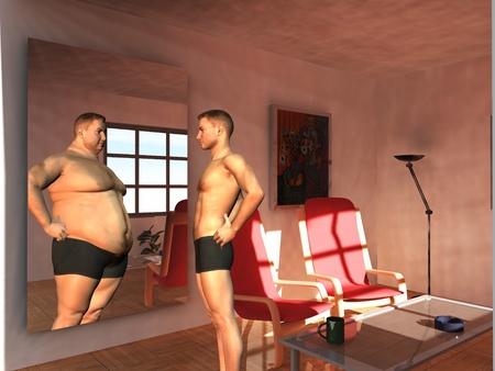 disorder: hombre ve posibilidades en espejo Foto de archivo