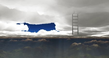 ladder reaches out of clouds Stock Photo - 10055830