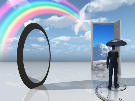 stock agency: uomo con ombrello e apertura specchio Archivio Fotografico