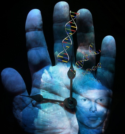 sci: DNA Human Clock Stock Photo
