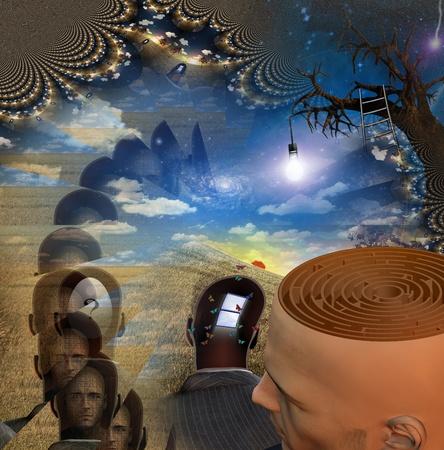 Mans hoofd onthult doolhof in vreemde scène Stockfoto