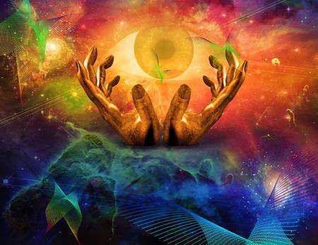 concept magical universe: Ojo que lo ve todo y espacio Foto de archivo