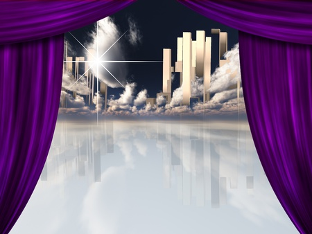 heaven background: Heavenly City behind Curtains Stock Photo