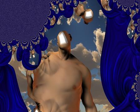 Open door in head psychedelic photo