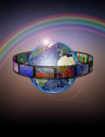 Planet Earth with film photo