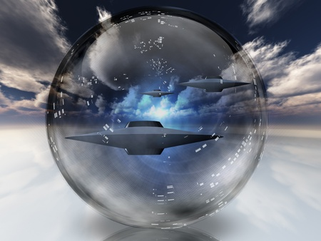 ufos: UFOs in clear sphere