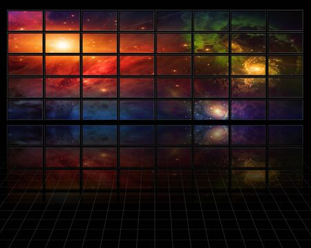 scifi: Galaxies and stars on screens in dark space