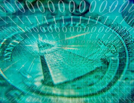us currency: Binary COde and US Currency Abstract