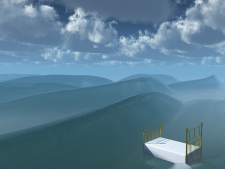 surrealism: Bed afloat on sea