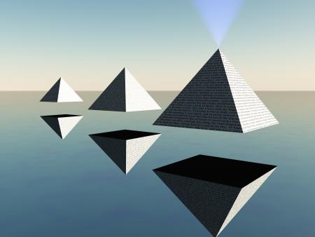 metaphorical: Triad of floating Pyramids  Stock Photo