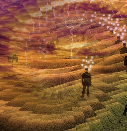 adn humano: Una composici�n abstracta de la mente humana Foto de archivo