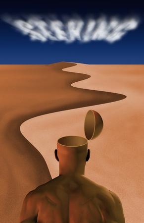 Man in desert photo
