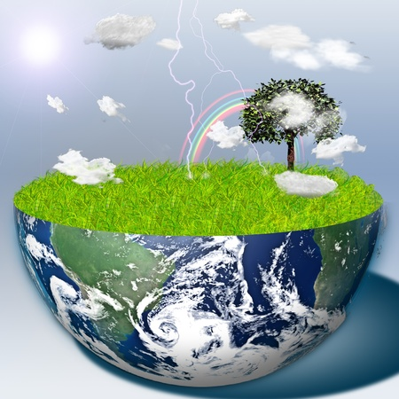 Half earth with green grass and landscape Stock Photo - 10056198