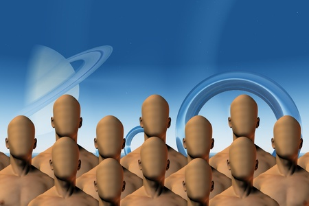 sci: Alien like people in sci fi landscape