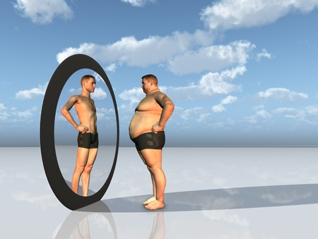 with reflection: Man sees other self in mirror