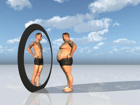 espelho: O homem v� outro eu no espelho