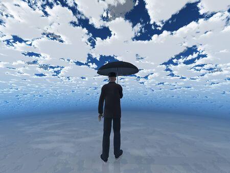stock agency: uomo con ombrello, sotto il cielo nuvoloso