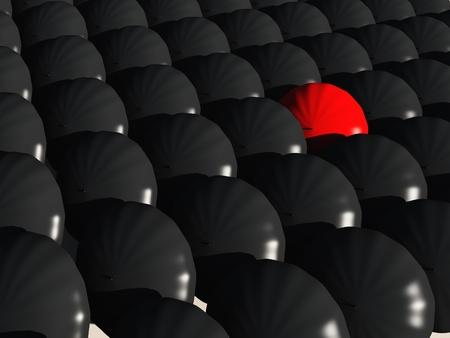 black umbrellas with a single red umbrella photo