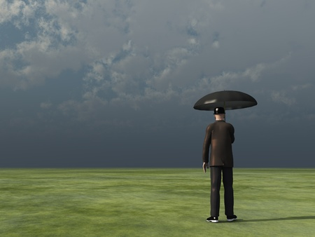 Mann mit Regenschirm bewölkten Himmel
