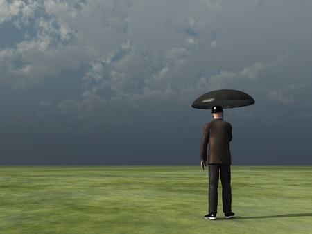 stock agency: uomo con ombrello sotto il cielo nuvoloso