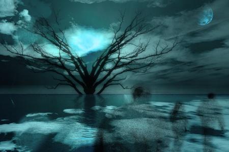 Spookachtige figuren reis in het landschap