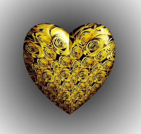 Yellow roses 3D heart Stock Photo - 10056528
