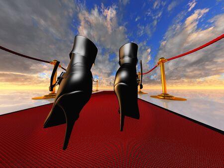black stilettos on red carpet Stock Photo - 10120462