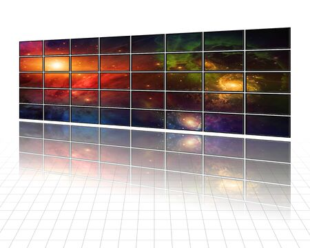 Galaxies and stars on screens in white photo