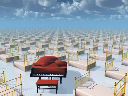 Piano and beds Stock Photo - 10279283