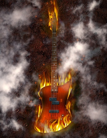 Flaming Bass Guitar against rusted metal background photo