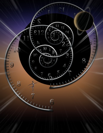 Spiral clocks and space time Stock Photo - 10279206