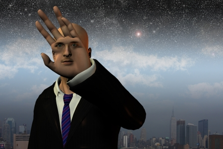 Surreal man before City and stars Stock Photo - 10279268