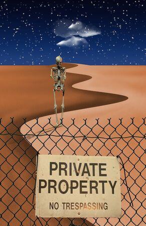 exclude: Skeletal Figure in Desert Stock Photo